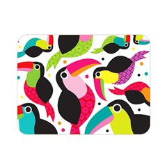 Colorful Toucan Retro Kids Pattern Bird Animals Rainbow Purple Flower Double Sided Flano Blanket (mini)  by Jojostore