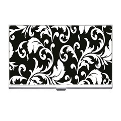 Clasic Floral Flower Black Business Card Holders by Jojostore