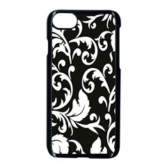Clasic Floral Flower Black Apple Iphone 7 Seamless Case (black) by Jojostore
