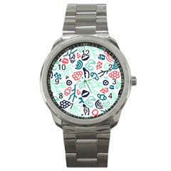 Coral Leaf Flower Sea Sport Metal Watch by Jojostore