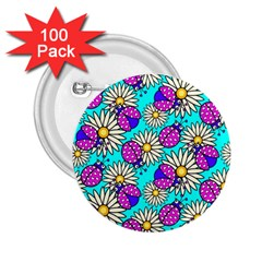 Bunga Matahari Serangga Flower Floral Animals Purple Yellow Blue Pink 2 25  Buttons (100 Pack)  by Jojostore