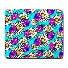 Bunga Matahari Serangga Flower Floral Animals Purple Yellow Blue Pink Large Mousepads by Jojostore