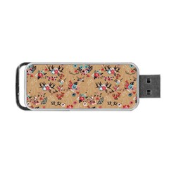 Deer Cerry Animals Flower Floral Leaf Fruit Brown Portable Usb Flash (one Side) by Jojostore