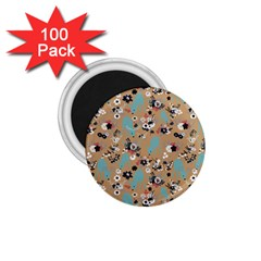 Deer Cerry Animals Flower Floral Leaf Fruit Brown Black Blue 1 75  Magnets (100 Pack)  by Jojostore