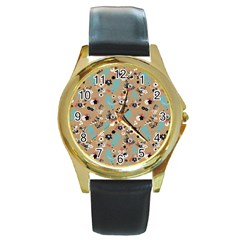 Deer Cerry Animals Flower Floral Leaf Fruit Brown Black Blue Round Gold Metal Watch by Jojostore
