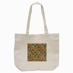 Deer Cerry Animals Flower Floral Leaf Fruit Brown Black Blue Tote Bag (cream) by Jojostore