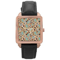 Deer Cerry Animals Flower Floral Leaf Fruit Brown Black Blue Rose Gold Leather Watch  by Jojostore