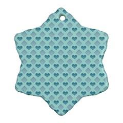 Diamond Heart Card Valentine Love Blue Snowflake Ornament (two Sides)