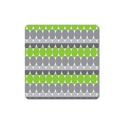 Egg Wave Chevron Green Grey Square Magnet by Jojostore