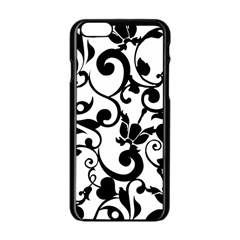 Floral Flower Leaf Black Apple Iphone 6/6s Black Enamel Case by Jojostore