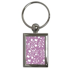 Floral Flower Leafpurple White Key Chains (rectangle)  by Jojostore