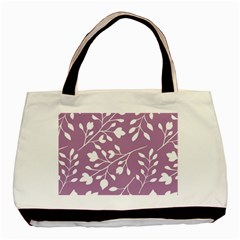 Floral Flower Leafpurple White Basic Tote Bag (two Sides) by Jojostore