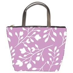 Floral Flower Leafpurple White Bucket Bags by Jojostore