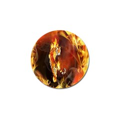Fire Tiger Lion Animals Wild Orange Yellow Golf Ball Marker by Jojostore