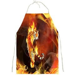 Fire Tiger Lion Animals Wild Orange Yellow Full Print Aprons by Jojostore