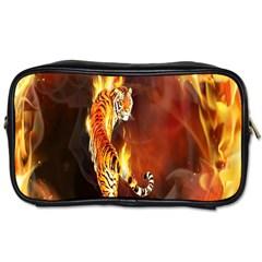 Fire Tiger Lion Animals Wild Orange Yellow Toiletries Bags 2 Side by Jojostore