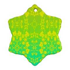 Floral Flower Leaf Yellow Blue Ornament (snowflake) by Jojostore