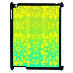 Floral Flower Leaf Yellow Blue Apple Ipad 2 Case (black) by Jojostore
