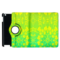 Floral Flower Leaf Yellow Blue Apple Ipad 2 Flip 360 Case by Jojostore