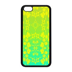 Floral Flower Leaf Yellow Blue Apple Iphone 5c Seamless Case (black) by Jojostore