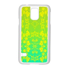 Floral Flower Leaf Yellow Blue Samsung Galaxy S5 Case (white) by Jojostore