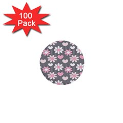 Flower Floral Rose Sunflower Pink Grey Love Heart Valentine 1  Mini Buttons (100 Pack)  by Jojostore