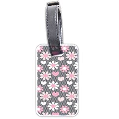 Flower Floral Rose Sunflower Pink Grey Love Heart Valentine Luggage Tags (one Side)  by Jojostore