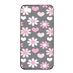 Flower Floral Rose Sunflower Pink Grey Love Heart Valentine Apple Iphone 4/4s Seamless Case (black) by Jojostore