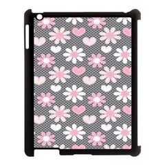 Flower Floral Rose Sunflower Pink Grey Love Heart Valentine Apple Ipad 3/4 Case (black) by Jojostore