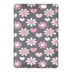 Flower Floral Rose Sunflower Pink Grey Love Heart Valentine Kindle Fire Hdx 8 9  Hardshell Case by Jojostore