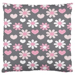 Flower Floral Rose Sunflower Pink Grey Love Heart Valentine Large Flano Cushion Case (two Sides) by Jojostore