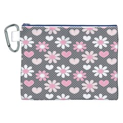 Flower Floral Rose Sunflower Pink Grey Love Heart Valentine Canvas Cosmetic Bag (xxl) by Jojostore