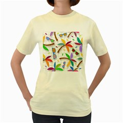 Glasses Coconut Tree Color Rainbow Purple Yellow Orange Green Red Pink Brown Line Women s Yellow T Shirt