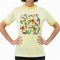 Glasses Coconut Tree Color Rainbow Purple Yellow Orange Green Red Pink Brown Line Women s Fitted Ringer T Shirts by Jojostore