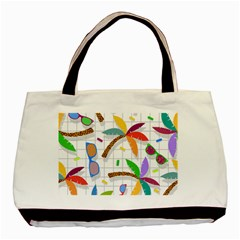 Glasses Coconut Tree Color Rainbow Purple Yellow Orange Green Red Pink Brown Line Basic Tote Bag (two Sides) by Jojostore