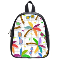 Glasses Coconut Tree Color Rainbow Purple Yellow Orange Green Red Pink Brown Line School Bags (small)  by Jojostore