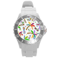 Glasses Coconut Tree Color Rainbow Purple Yellow Orange Green Red Pink Brown Line Round Plastic Sport Watch (l) by Jojostore