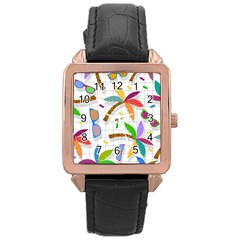 Glasses Coconut Tree Color Rainbow Purple Yellow Orange Green Red Pink Brown Line Rose Gold Leather Watch  by Jojostore