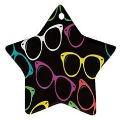 Glasses Color Pink Mpurple Green Yellow Blue Rainbow Black Ornament (star) by Jojostore