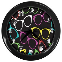 Glasses Color Pink Mpurple Green Yellow Blue Rainbow Black Wall Clocks (black) by Jojostore