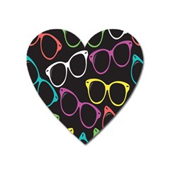 Glasses Color Pink Mpurple Green Yellow Blue Rainbow Black Heart Magnet by Jojostore