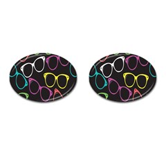 Glasses Color Pink Mpurple Green Yellow Blue Rainbow Black Cufflinks (oval) by Jojostore