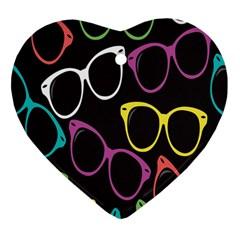 Glasses Color Pink Mpurple Green Yellow Blue Rainbow Black Heart Ornament (two Sides) by Jojostore