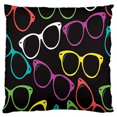 Glasses Color Pink Mpurple Green Yellow Blue Rainbow Black Large Cushion Case (two Sides) by Jojostore