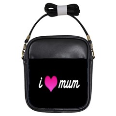 I Love Moom Mum Pink Valentine Heart Girls Sling Bags by Jojostore