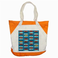 Go Fish  Fishing Animals Sea Water Beach Red Blue Orange Grey Accent Tote Bag by Jojostore