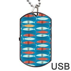 Go Fish  Fishing Animals Sea Water Beach Red Blue Orange Grey Dog Tag Usb Flash (one Side) by Jojostore