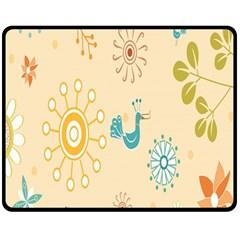 Kids Bird Sun Flower Floral Leaf Animals Color Rainbow Double Sided Fleece Blanket (medium)  by Jojostore