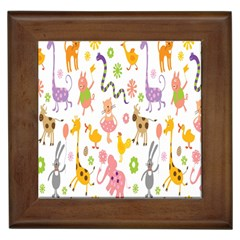 Kids Animal Giraffe Elephant Cows Horse Pigs Chicken Snake Cat Rabbits Duck Flower Floral Rainbow Framed Tiles by Jojostore