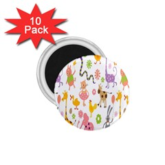 Kids Animal Giraffe Elephant Cows Horse Pigs Chicken Snake Cat Rabbits Duck Flower Floral Rainbow 1 75  Magnets (10 Pack)  by Jojostore